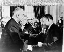 President Johnson and Dr. King congratulate each other on the passage of the Voting Rights Act of 1965